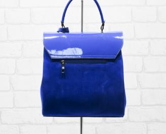 Дамска чанта еко велур/еко лак синя