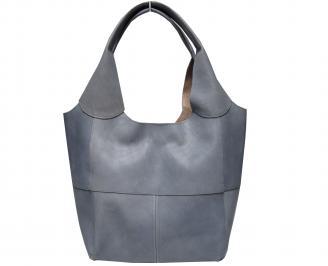 Дамска чанта естествена кожа сива ERLF-21549
