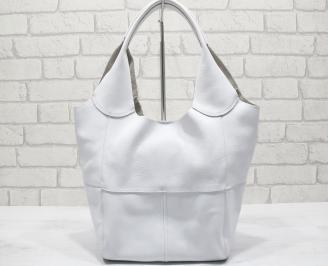 Дамска чанта естествена кожа бяла AZDB-23785