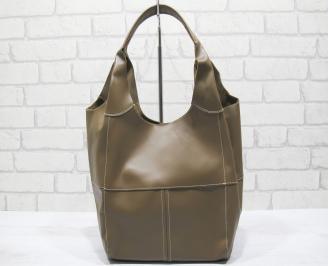 Дамска чанта естествена кожа кафява YGCD-23787