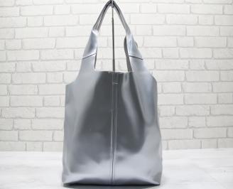 Дамска чанта естествена кожа сребриста JPMI-23788