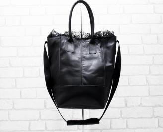 Дамска чанта естествена кожа черна WJIW-26240
