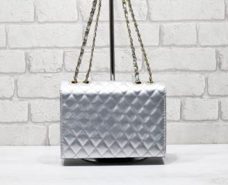 Дамска чанта естествена кожа сребриста JOTV-26245