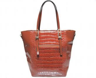Дамска чанта кафява еко кожа/лак VYAJ-22639