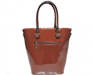 Дамска чанта кафява еко кожа/лак THOG-22642