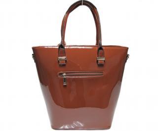 Дамска чанта кафява еко кожа/лак 2