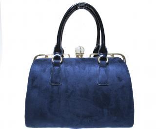 Дамска чанта синя от еко велур HTAM-22417