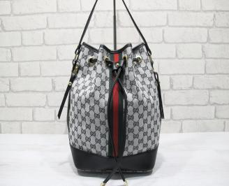 Дамска чанта текстил сива AOYP-23791