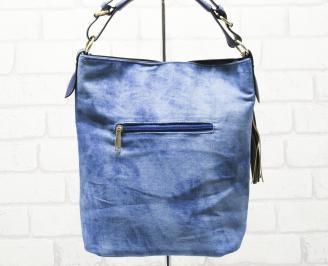 Дамска чанта текстил синя GKRA-26333