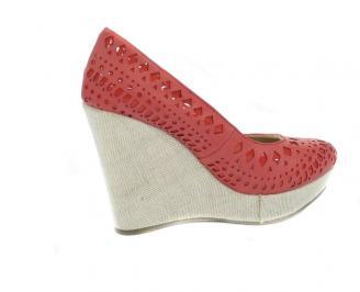 Дамска обувка на платформа  еко кожа червени LBMB-10566