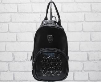 Дамска раница еко кожа черна PQMK-23666