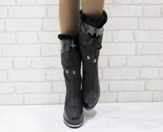 Дамски апрески черни текстил/ еко кожа UUYQ-24942