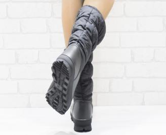Дамски апрески  черни текстил/еко кожа EVNV-25520