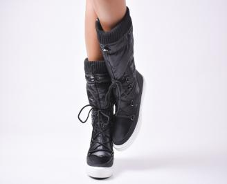 Дамски апрески  черни текстил/еко кожа CLWE-25567