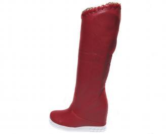 Дамски боти/ботуши на платформа еко кожа червени JQGY-20668