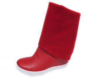 Дамски боти/ботуши на платформа еко кожа червени LGBP-20729