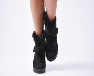 Дамски боти черни от еко велур с пух IEXO-22800