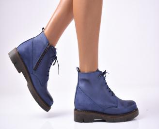 Дамски боти естествена кожа сини AGPD-1013163