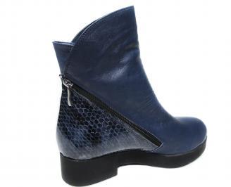 Дамски боти естествена кожа сини QESF-20491