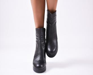 Дамски боти естествена кожа черни BMJK-20492