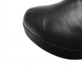 Дамски боти естествена кожа черни MOUE-20501