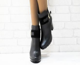 Дамски  боти естествена кожа черни BADV-22185