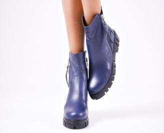 Дамски боти естествена кожа тъмно сини XDYS-22401