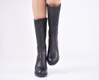 Дамски боти  естествена кожа черни EOJE-22659