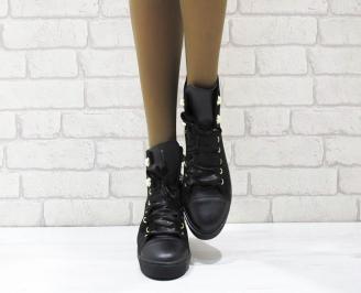 Дамски боти естествена кожа черни DTIS-25014
