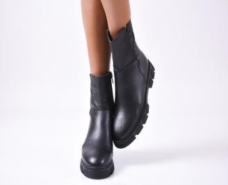 Дамски боти естествена кожа черни ASZA-25311