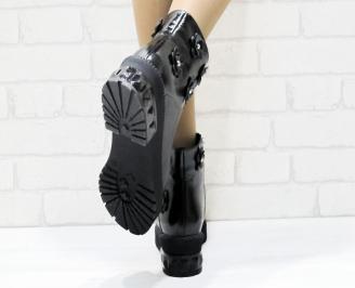 Дамски боти естествена кожа черни XWEX-25371