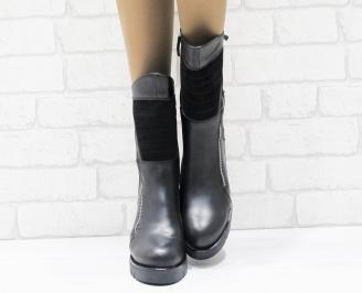 Дамски боти естествена кожа черни WUOT-25489
