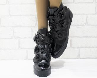 Дамски боти естествена кожа черни LQIK-25492