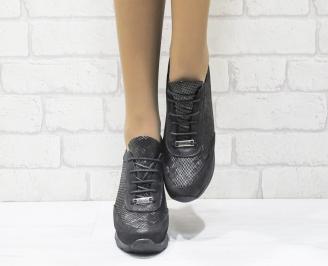 Дамски боти естествена кожа черни EIYK-25526