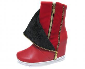 Дамски боти на платформа еко кожа червени AOPN-20485