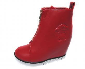Дамски боти на платформа еко кожа червени ZHGJ-20968