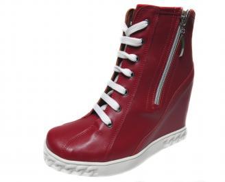 Дамски боти на платформа еко кожа червени DOUM-21185