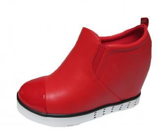 Дамски боти на платформа червени еко кожа JZNQ-21264