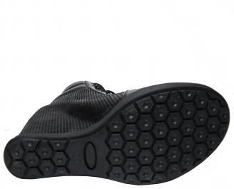 Дамски боти на платформа черни от естествена  кожа HKFM-22548