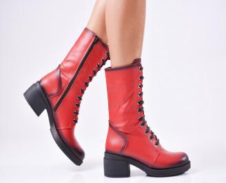 Дамски боти от естествена кожа червени RQID-1010340
