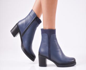 Дамски боти от естествена кожа сини SMGN-1010607