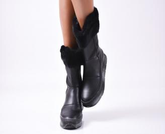 Дамски боти от естествена кожа черни QHTQ-25642