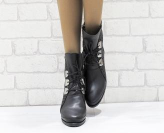 Дамски боти от естествена кожа черни MUAS-25649