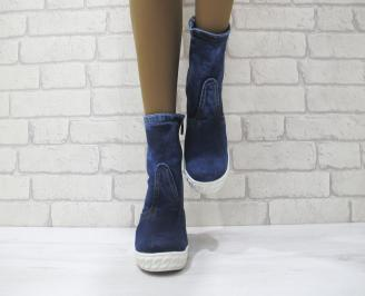 Дамски боти текстил сини WXKZ-23043