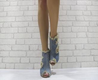 Дамски боти текстил сини ECDE-24101