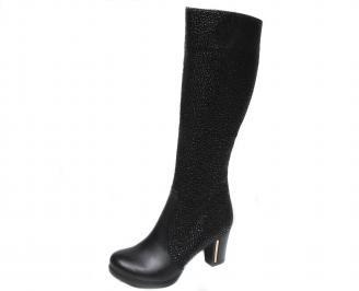Дамски ботуши черни естествена кожа DHJY-20454