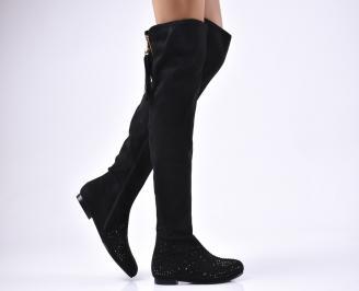 Дамски ботуши  черни от еко велур DGJM-22191