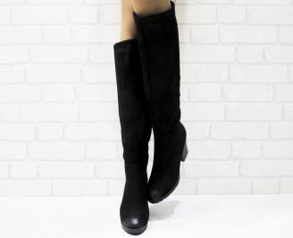 Дамски  ботуши черни от еко велур RFGE-25222