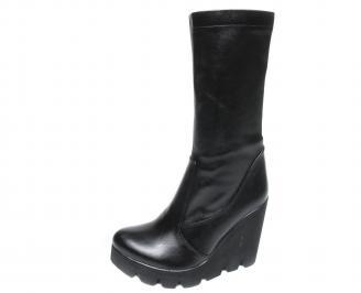 Дамски ботуши еко кожа черни QMFL-20514