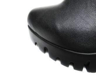 Дамски ботуши естествена кожа черни OUJI-20498